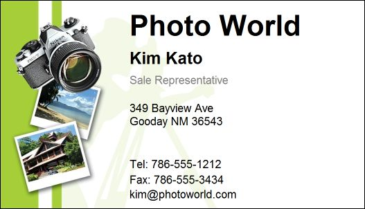 Sample Photography Business Card Software Template