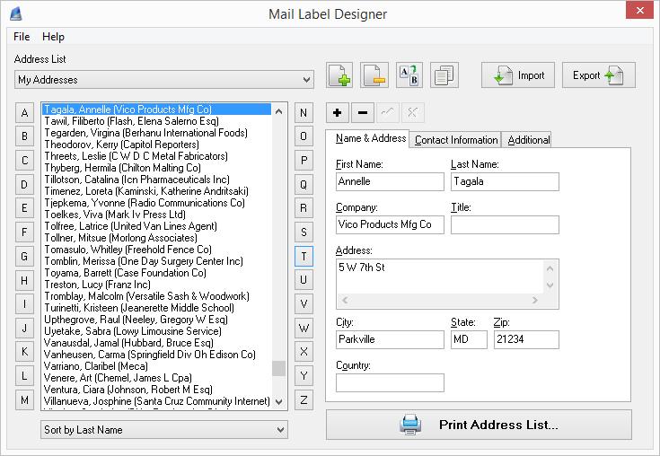 Mail Label Designer - Address Label & Envelope Software