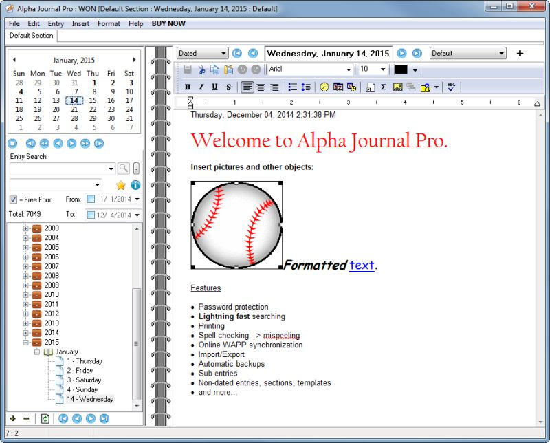 Journaling software - Alpha Journal is the journaling software that
